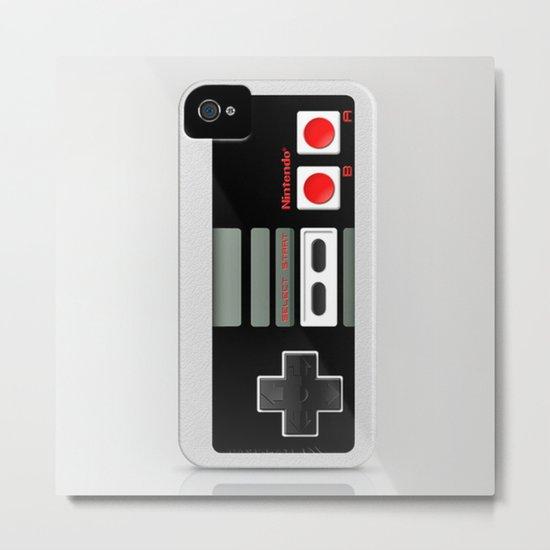 Classic retro Nintendo game controller iPhone 4 4s 5 5c, ipod, ipad, tshirt, mugs and pillow case Metal Print