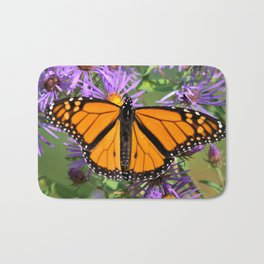 Monarch Butterfly on Wild Asters (square) Bath Mat