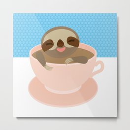 Sloth in a Pink cup coffee, tea, Three-toed sloth Metal Print