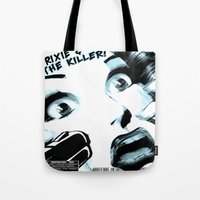 movie posters Tote Bags featuring B-Movie  by Trixie & the Killer Productions