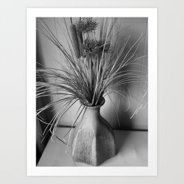 DRIED FLOWERS BLACK AND WHITE Art Print