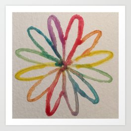 Spirograph Rainbow flower Art Print