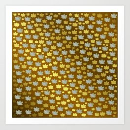 gold, silver, metal shiny maple leaf on shimmering texture Art Print