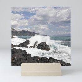 The Power of Sea on the Isle of Sicily Mini Art Print