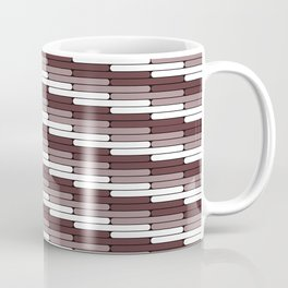 Staggered Oblong Rounded Lines Pattern Pantone Red Pear Coffee Mug
