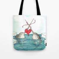 knitting Tote Bags featuring Knitting Narwhals by Georgia Dunn