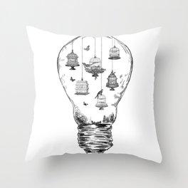 Aquarium Bulb Bird Houses Throw Pillow