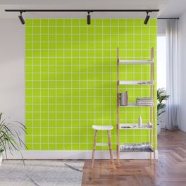 Electric lime - green color - White Lines Grid Pattern Wall Mural