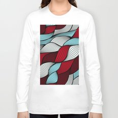 Red blue knit Long Sleeve T-shirt