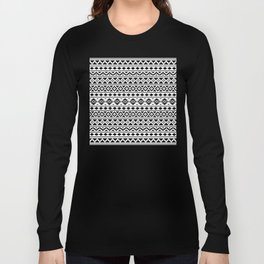 Aztec Essence Pattern II Black on White Long Sleeve T-shirt
