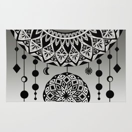 Mandala Dream Catcher (Black & White) Rug