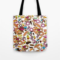junk food Tote Bags featuring Cartoon Junk food pattern. by Nick's Emporium Gallery