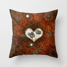 Steampunk, wonderful heart Throw Pillow