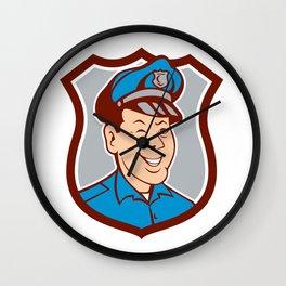 Policeman Winking Smiling Shield Cartoon Wall Clock