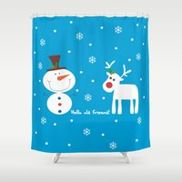 men Shower Curtains featuring Snow men by caroline