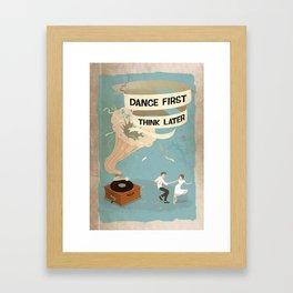 Gramophone couple swing dance Framed Art Print