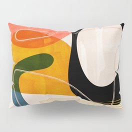 mid century shapes abstract painting Pillow Sham