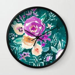 LAVISH FLORAL - EMERALD Wall Clock