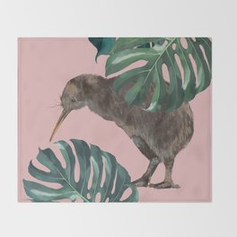 Kiwi Bird with Monstera in Pink Throw Blanket