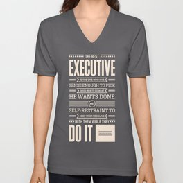 Lab No. 4 The Best Executive Theodore Roosevelt Inspirational Quote Unisex V-Neck