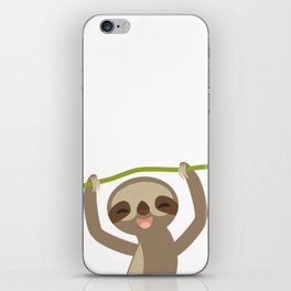 funny and cute smiling Three-toed sloth on green branch iPhone Skin