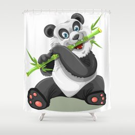 Happy panda bear eating bamboo Shower Curtain