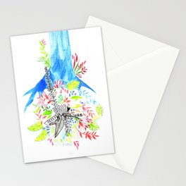 The blue tree, narture, bohemian, dream Stationery Cards