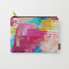 ELATED - Beautiful Bright Colorful Modern Abstract Painting Wild Rainbow Pastel Pink Color Carry-All Pouch