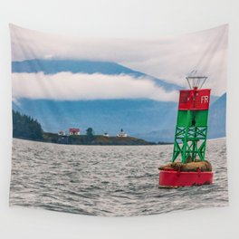 Sea lions relaxing on floating buoy in Auke Bay, Alaska Wall Tapestry