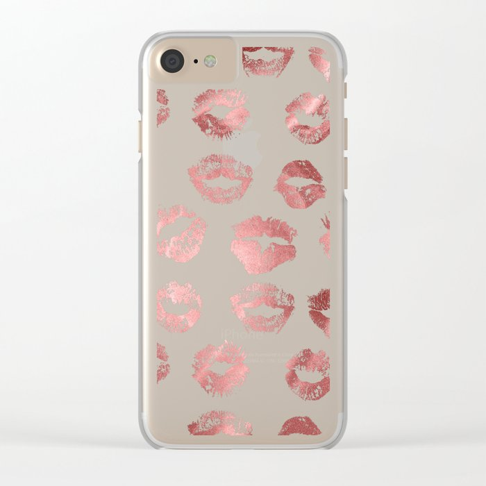 Girly Fashion Lips Rose Gold Lipstick Pattern Clear iPhone Case