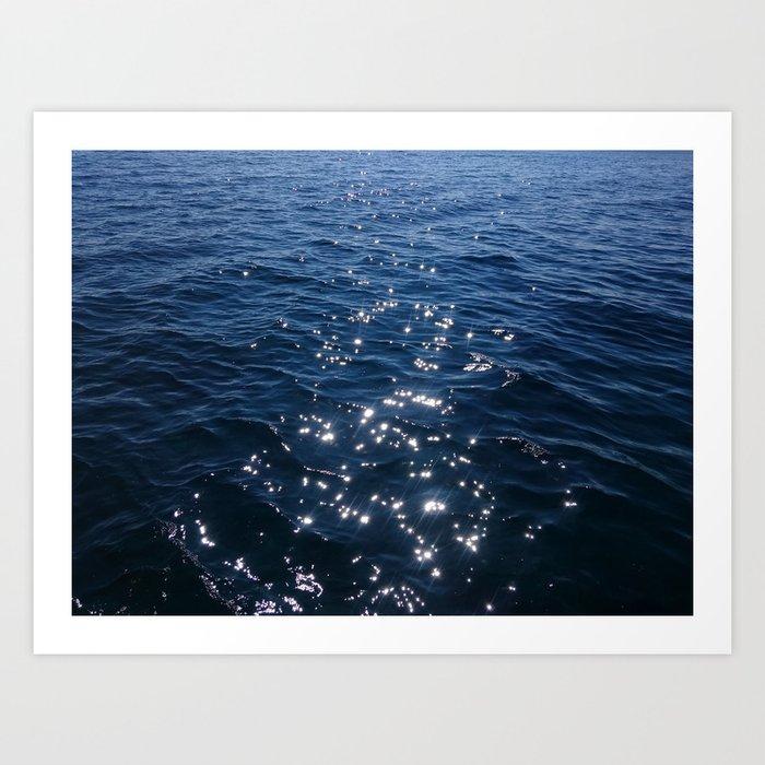 Sparkly Deep Blue Sea Waves Art Print