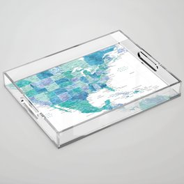 Map of the USA Mexico and the Caribbean Sea in watercolor Acrylic Tray