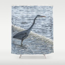 Great Blue Heron and Wave Shower Curtain