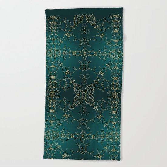 Gold Teal Mandala Beach Towel