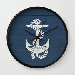 Blue Wood Anchor Wall Clock
