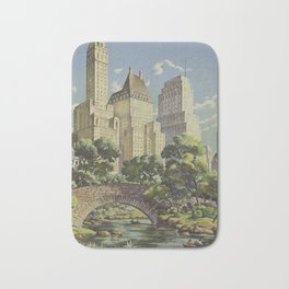 New York, United Airlines - Vintage Travel Poster Bath Mat