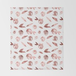 Rose Gold Roses Rosette Pattern Pink on White Throw Blanket
