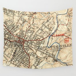 Vintage Map of Charlottesville Virginia (1949) Wall Tapestry
