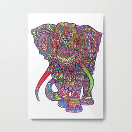 Elephant Mandala safari pattern Metal Print