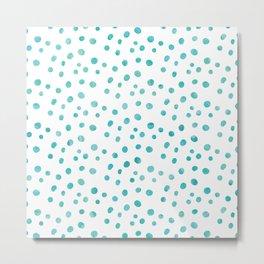 Small Blue Watercolor Abstract Polka Dots Metal Print