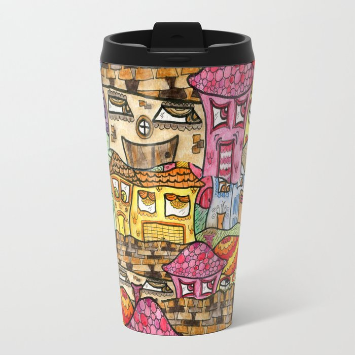Suburbia watercolor collage Metal Travel Mug