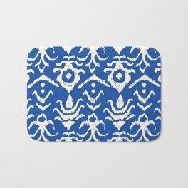 Blue Ikat Damask Print Bath Mat
