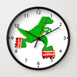 dinosaur riding roller skates. Wall Clock