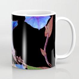 Black  Color Blue Morning Glory Art Design Pattern Coffee Mug