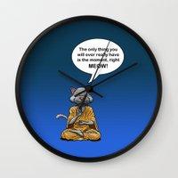 buddah Wall Clocks featuring Buddah Cat by The Big Bad Dream Machine