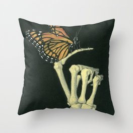 Butterfly & Bones Throw Pillow