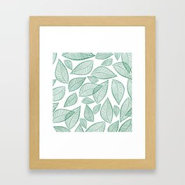 Modern abstract green glitter foliage floral Framed Art Print