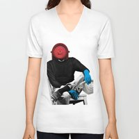 telephone V-neck T-shirts featuring Telephone man by Marko Köppe