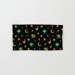 Colorful Watercolor Stars and Moons Pattern Hand & Bath Towel
