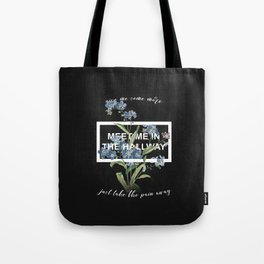 Harry Styles Meet me in the hallway graphic design artwork Tote Bag